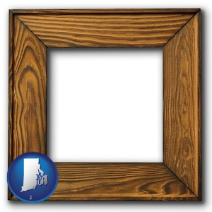 a wooden picture frame - with Rhode Island icon