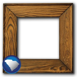 a wooden picture frame - with South Carolina icon