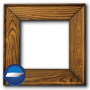 a wooden picture frame - with Tennessee icon