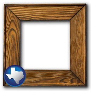 a wooden picture frame - with Texas icon