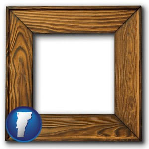 a wooden picture frame - with Vermont icon