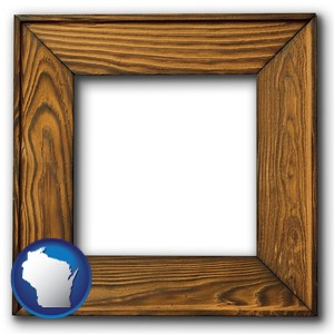 a wooden picture frame - with Wisconsin icon