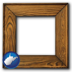 a wooden picture frame - with West Virginia icon