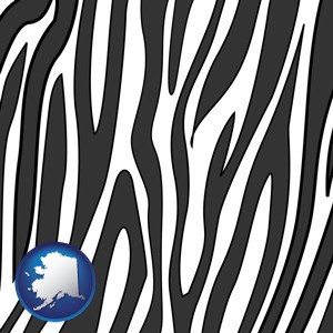 a zebra print - with Alaska icon
