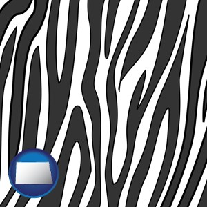 a zebra print - with North Dakota icon