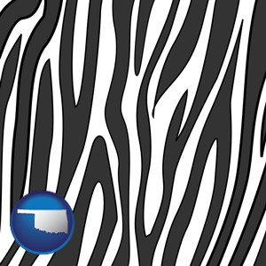 a zebra print - with Oklahoma icon