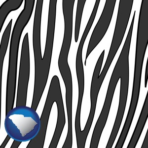 a zebra print - with South Carolina icon