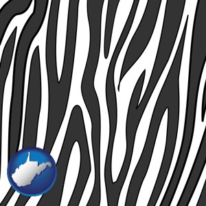 a zebra print - with West Virginia icon