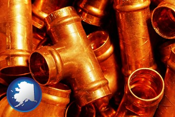 copper tee pipe connectors - with Alaska icon