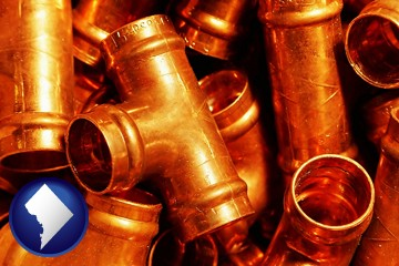 copper tee pipe connectors - with Washington, DC icon