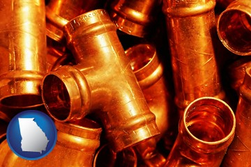 copper tee pipe connectors - with Georgia icon