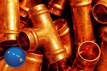 copper tee pipe connectors - with Hawaii icon