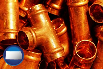 copper tee pipe connectors - with Kansas icon