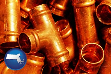 copper tee pipe connectors - with Massachusetts icon