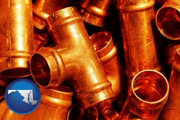 copper tee pipe connectors - with Maryland icon
