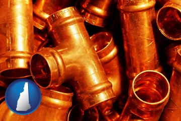 copper tee pipe connectors - with New Hampshire icon