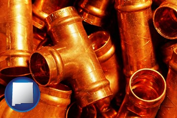 copper tee pipe connectors - with New Mexico icon
