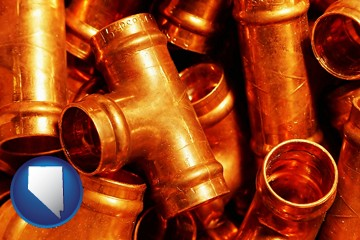 copper tee pipe connectors - with Nevada icon