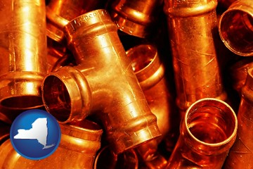 copper tee pipe connectors - with New York icon