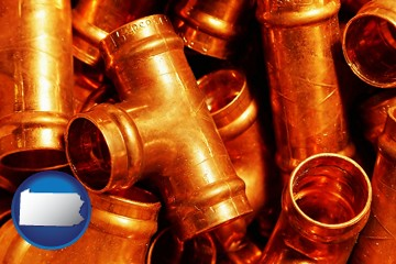 copper tee pipe connectors - with Pennsylvania icon