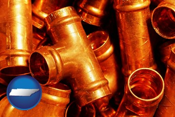 copper tee pipe connectors - with Tennessee icon