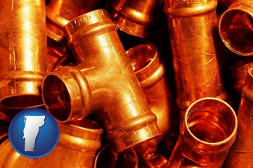copper tee pipe connectors - with Vermont icon