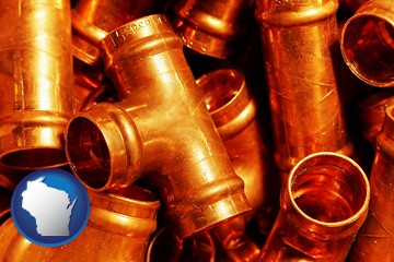 copper tee pipe connectors - with Wisconsin icon