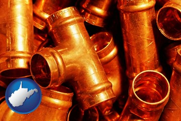 copper tee pipe connectors - with West Virginia icon