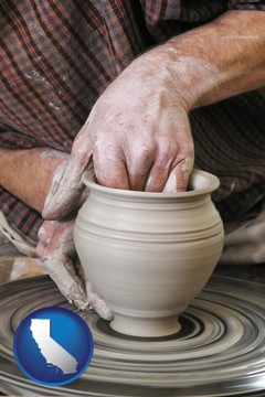 a potter making pottery on a pottery wheel - with California icon