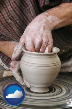 a potter making pottery on a pottery wheel - with Kentucky icon