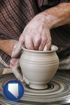 a potter making pottery on a pottery wheel - with Nevada icon