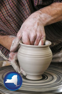 a potter making pottery on a pottery wheel - with New York icon