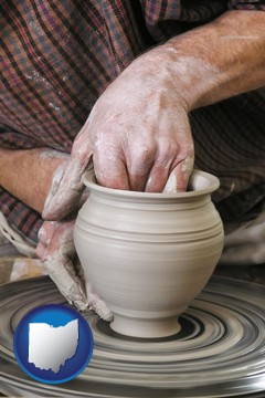 a potter making pottery on a pottery wheel - with Ohio icon