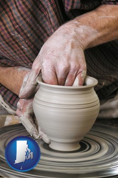 a potter making pottery on a pottery wheel - with Rhode Island icon