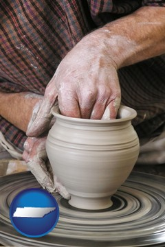 a potter making pottery on a pottery wheel - with Tennessee icon