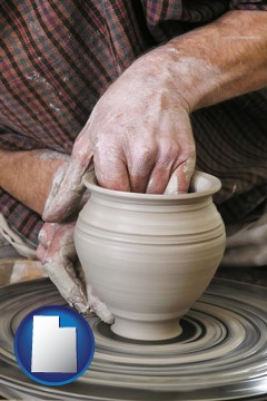 a potter making pottery on a pottery wheel - with Utah icon