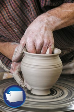 a potter making pottery on a pottery wheel - with Washington icon