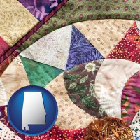 alabama map icon and a patchwork quilt