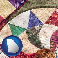 georgia map icon and a patchwork quilt