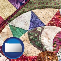kansas map icon and a patchwork quilt