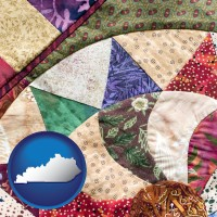 kentucky map icon and a patchwork quilt