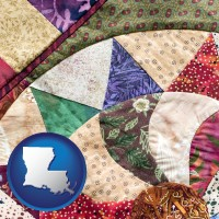 louisiana map icon and a patchwork quilt