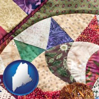 maine map icon and a patchwork quilt
