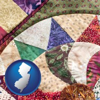 new-jersey map icon and a patchwork quilt