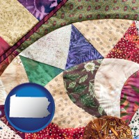 pennsylvania map icon and a patchwork quilt