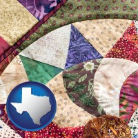 texas map icon and a patchwork quilt