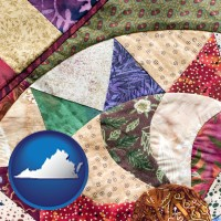 virginia map icon and a patchwork quilt