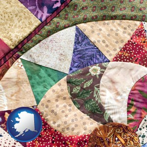 a patchwork quilt - with Alaska icon