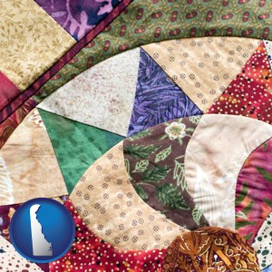 a patchwork quilt - with Delaware icon