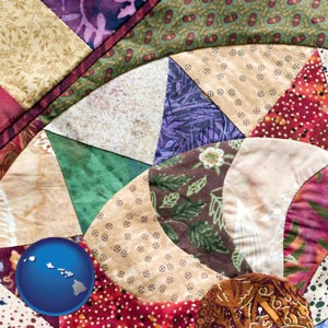 a patchwork quilt - with Hawaii icon